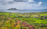 Dunquin village on the edge of Atlantic Ocean with surrounding fields, farms and small islands