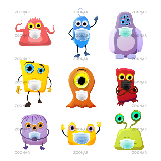 Set of cute monsters, childish cartoon characters wear masks to protect from COVID on white