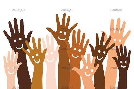 Vielfältige Hände mit Smiley als Hintergrund