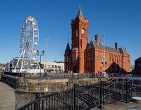 Pierhead Building – Welsh: Adeilad y Pierhead – and Big Wheel at Cardiff Bay Mermaid Quay