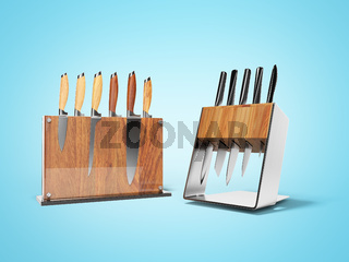 Two sets of five and six kitchen knives 3d render on blue background with shadow