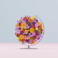 3D illustration, 3D rendering. Many multi-colored flowers in globe.