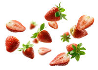 Strawberry berry levitating on a white background