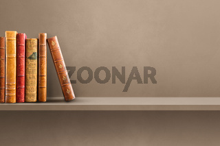 Row of old books on brown shelf. Horizontal background