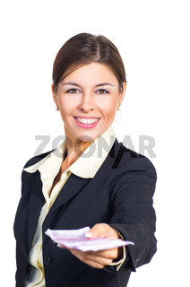 Business woman offers the money