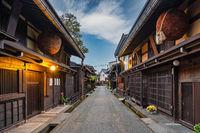 Takayama Gifu Japan, city skyline at Takayama old town Sannomachi street