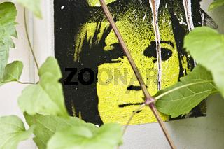 gudrun ensslin, schablonengrafik, stencil graffito
