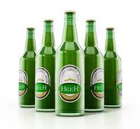 Generic beer bottles isolated on white background. 3D illustration