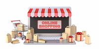 Shopping cart, bags and gift boxes on laptop Online shopping concept 3D