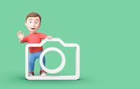 Young 3D Cartoon Character with Camera Symbol on Blue Background with Copy Space