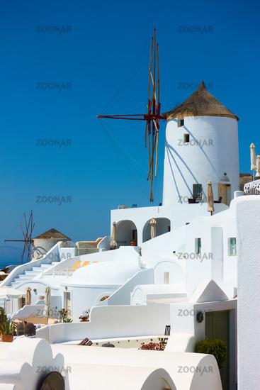 Windmill in Santorini in Greece