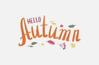 Hand written lettering Autumn in circle of autumn leaves and berries. Pattern for cards, invitations