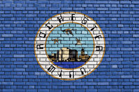 flag of Rochester, Minnesota painted on brick wall
