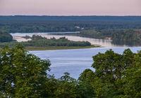 Dnipro river summer evening view from Taras Hill or Chernecha Hora (Monk Hill - important landmark of the Taras Shevchenko National Preserve, Kaniv, Cherkasy Region, Ukraine.