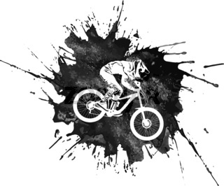 Silhouette of a cyclist on a mountain bike on an abstract background