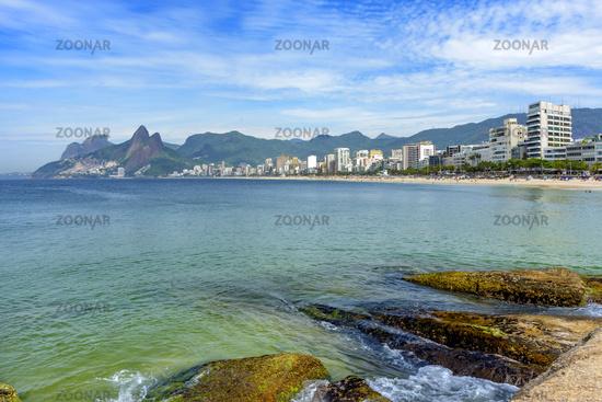 Ipanema beach in Rio de Janeiro at morning