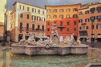 Morning in Rome. Fountain of Neptune