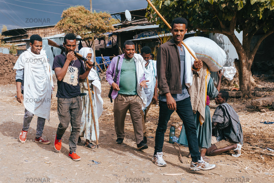 Ethiopian scout in group of man on street