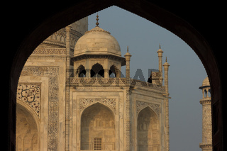 Taj Mahal seen shortly after sunrise from jawāb - building which is located east of the mausoleum