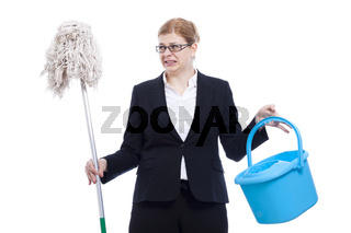 Unhappy disgusted businesswoman cleaning