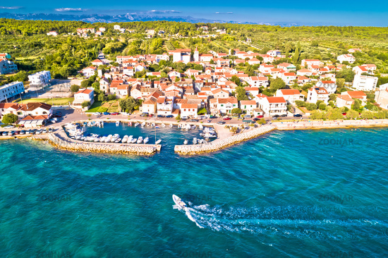 Zadar. Village of Diklo in Zadar archipelago aerial view of harbor and turquoise sea