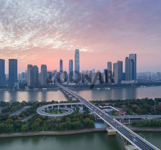 changsha cityscape in early morning