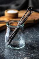 Vanilla pods. Sticks of vanilla in glass jar