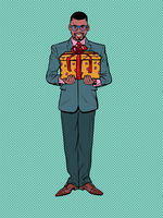 Gift box with a red ribbon on a pop art background. A black man in a suit. A holiday surprise, a purchase. Christmas, birthday or wedding
