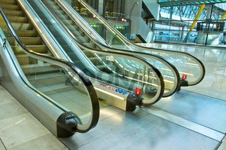 metal and glass escalator