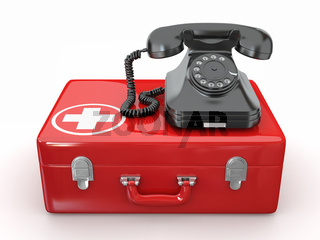 Helpline.Services. Phone on medical kit. 3d