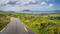 Road leading to Dunquin village with beautiful panoramic view on Dingle Peninsula