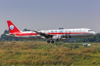 Sichuan Airlines Airbus A321 Flugzeug Flughafen Chengdu in China