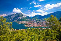 Town of Lecco panoramic view fron the hill, Como Lake