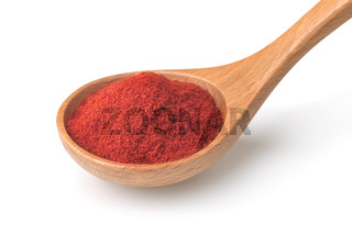 Red paprika powder in wooden spoon