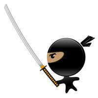 Cartoon Ninja Face Icon with Katana Isolated on White Background. Warrior Logo