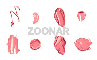Coral beauty cosmetic texture isolated on white background, smudged makeup emulsion cream smear or foundation smudge, crushed cosmetics product and paint strokes