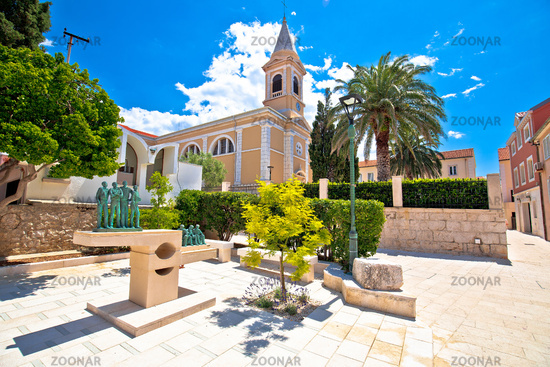 Town of Novalja square and church view, Island of Pag