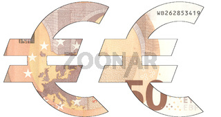 Stencil of the EURO currency symbol on a 50 euro