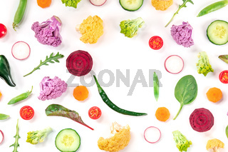 Fresh vegetable background with copy space. A frame
