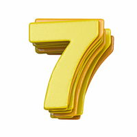 Yellow font Number 7 SEVEN 3D