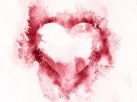 Watercolour splashes heart on white paper background.