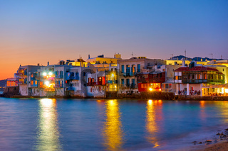 Mykonos Little Venice at night