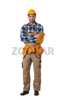 Contractor worker isolated on white