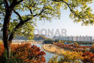 Panoramic view of Miryang city and river at autumn in Miryang, Korea
