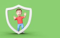 Young 3D Cartoon Character with a Shield on Green Background with Copy Space