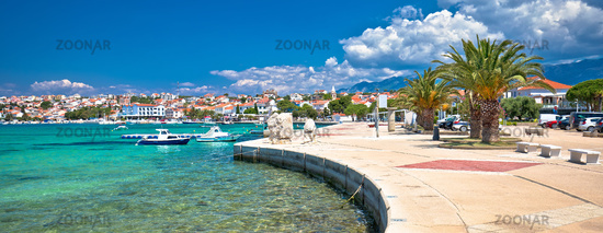 Town of Novalja waterfront and turquoise sea panoramic view