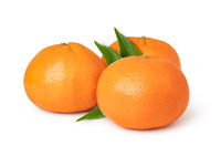 Ripe mandarines on a white background
