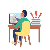 Surprised boy at computer semi flat color vector character