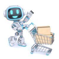 Cute blue robot push shopping cart 3D