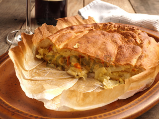 Delicious vegetable pate filled with white cabbage, carrots and cheese